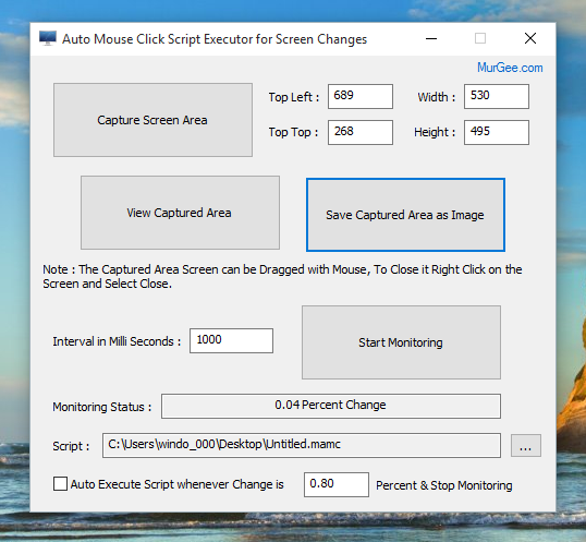 Screenshot of Auto Mouse Click Script Executor